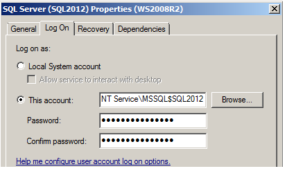 SQL 2012 properties = log on tab