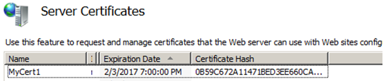 create SSL self signed server certificate through IIS