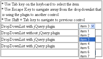 select item in drop-down list using tab key