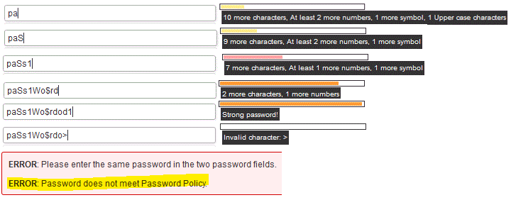 Wordpress plugins Password strength indicator using jQuery and XML